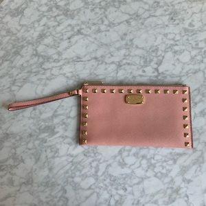 Michael Kors | Saffiano Studded Zip Clutch | Blush